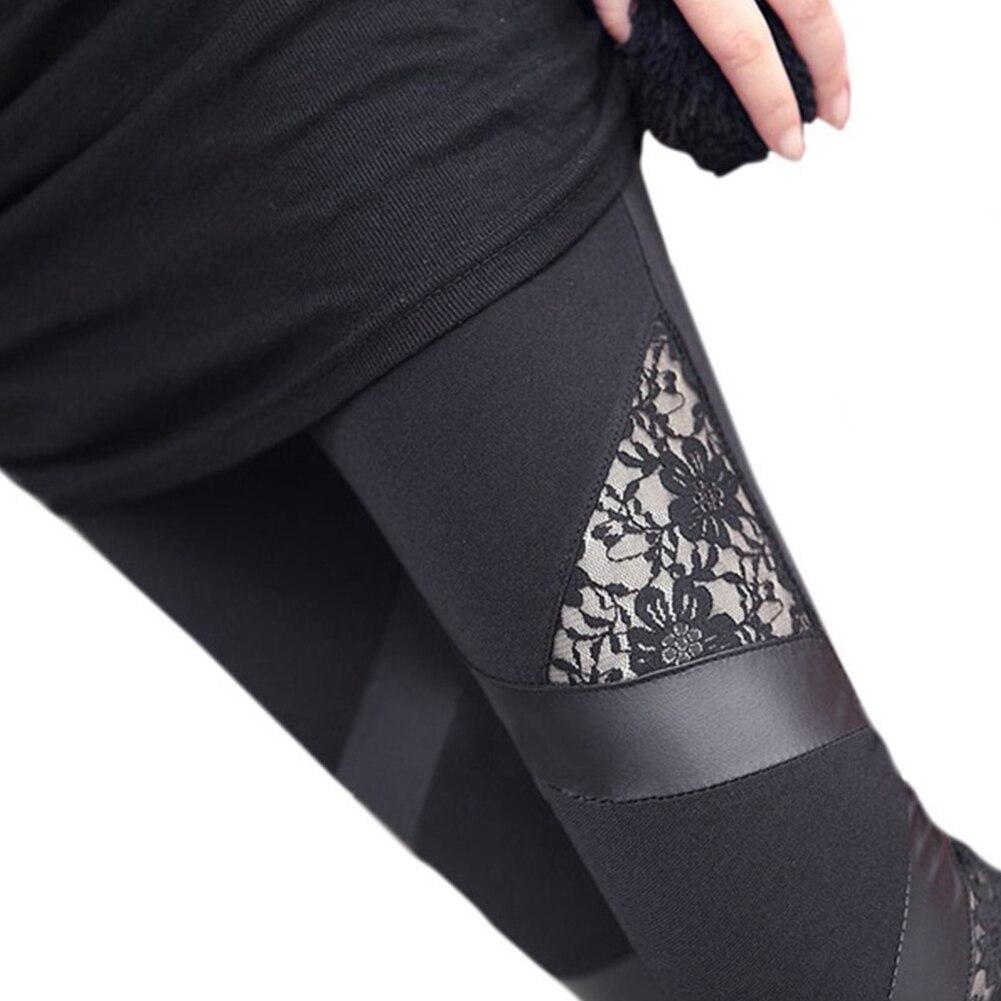 autumn NEW punk gothic rock   legging   sexy lace PU Leather splice femininos Women apparel   Leggings