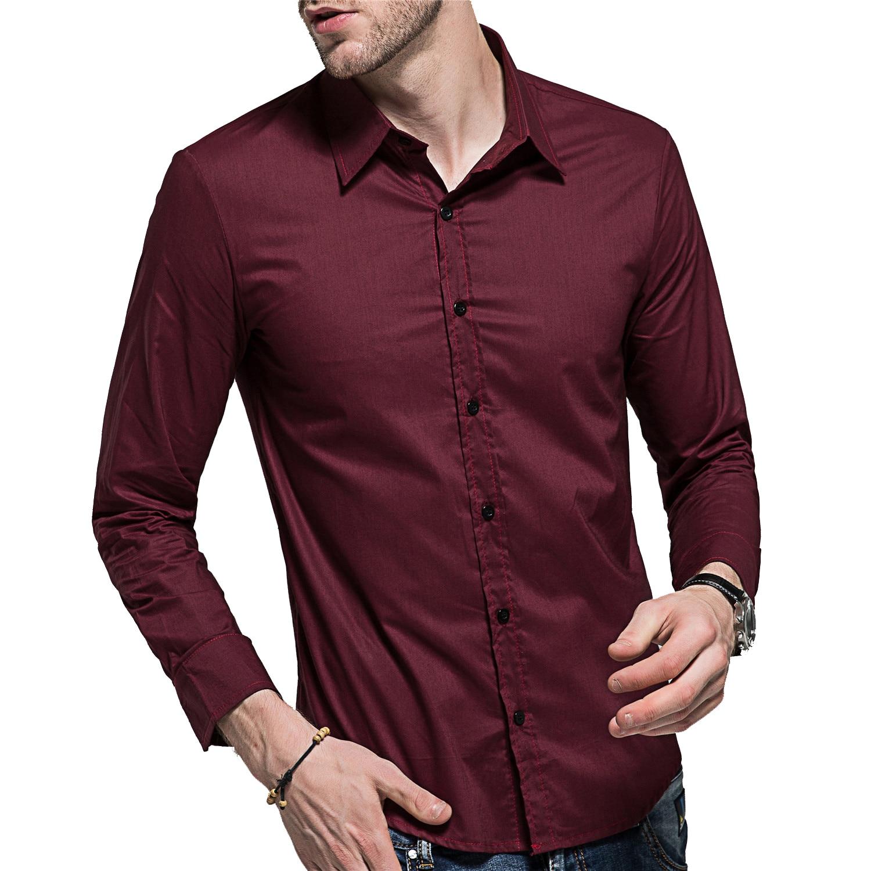 Großhandel LEFT ROM 2019 Herren Hochwertige Reine Baumwolle Slim Fit Langarmshirts Herren Pure Color Revers Casual Hemden Schwarz Weiß XXXL Von