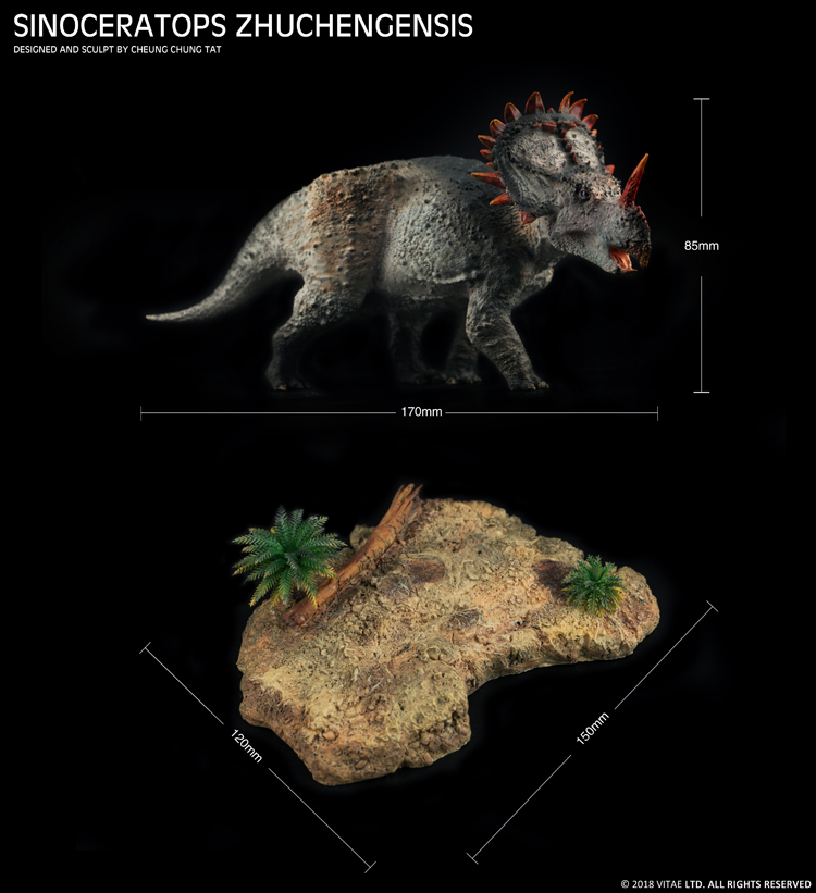 Vitae 쥬라기 선사 시대 동물 중국 공룡 sinoceratops zhuchengensis 수집가 수지 모델 1:35-에서액션 & 장난감 숫자부터 완구 & 취미 의  그룹 3