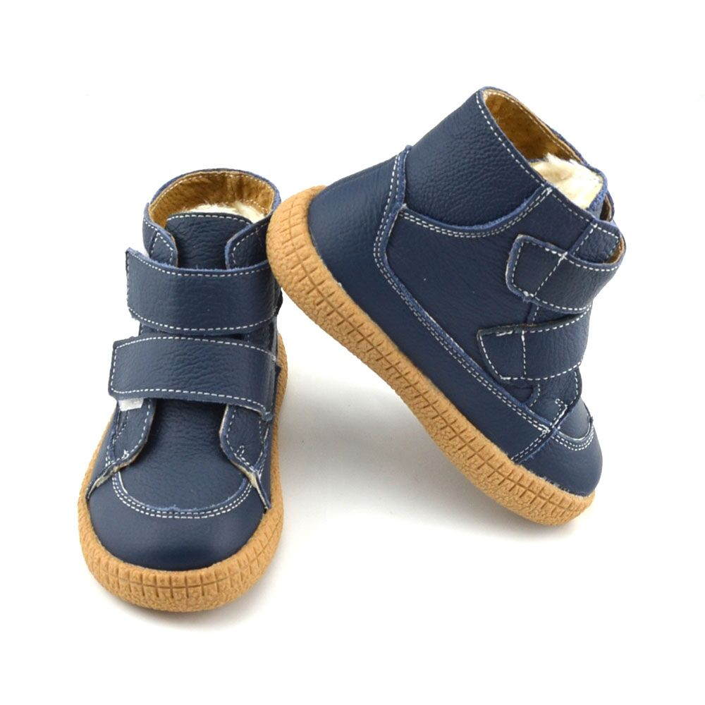 Big Boys Leather Boots Winter Navy Footwear For Kids Children Boots Warm Simple Popular Shoes Straps SandQ Baby 2019 16.5cm-20cm