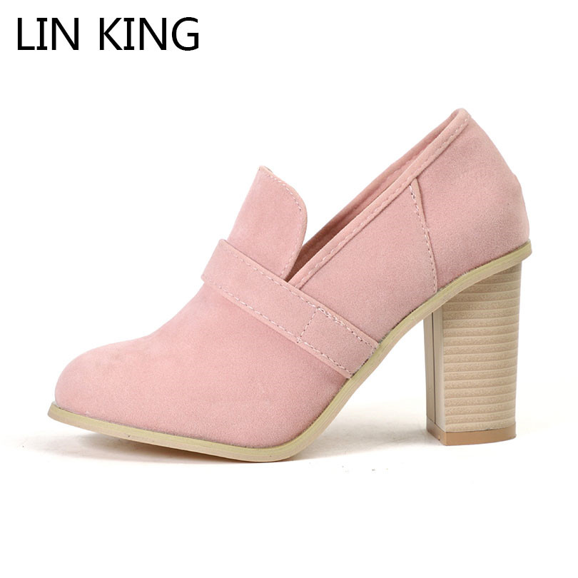LIN KING Leisure Women High Heel Shoes Big Size Sexy Solid Slip On Ladies Pumps Shallow Female Round Toe Platform Short Shoes lin king new women pumps round toe solid thick square medium heel buckle lolita shoes ankle strap party platform shoes big size