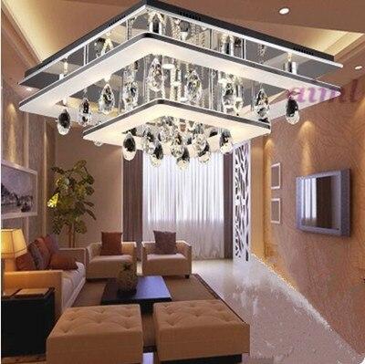 Светодиодный 51 Вт-60 Вт Yakeli контракт прямоугольник кристалл спальня гостиная столовая атмосферу поглощают свет купола 220 -240 В @-9