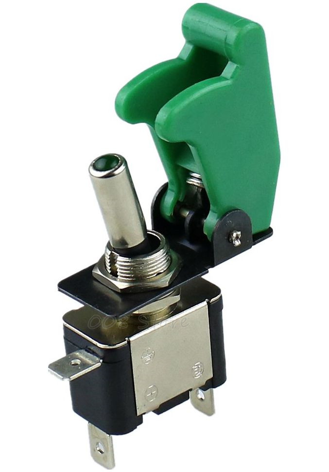 Green Toggle Switch Guard Aircraft Style