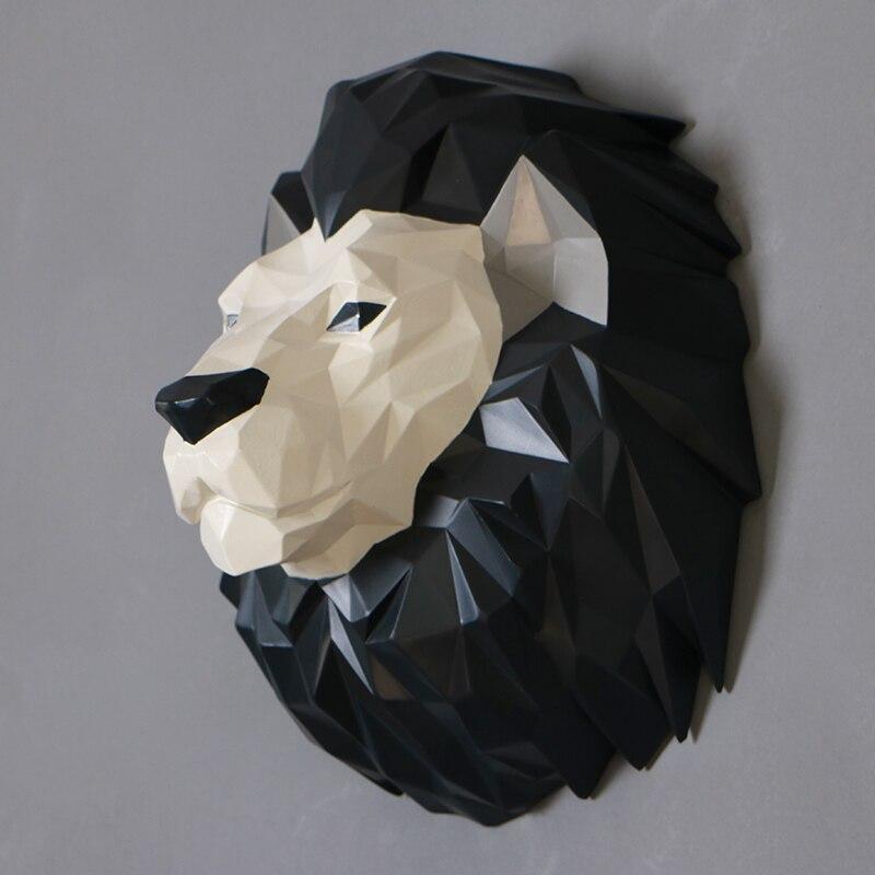 Nordic Творческий Смола голова лошади статуя home Настенный декор ремесел обезьян головы искусство украшения стены животных голова льва комнат