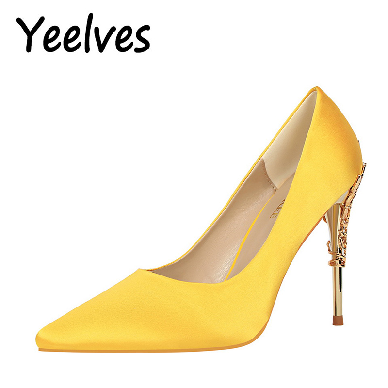 Women High Heels Pumps Fashion Yellow Thin Heels Pointed Toe Female Shoes Satin Delicate Bridal Wedding Prom Party Ladies Pumps women pumps shoes pointed toe thin heels crystal shoes wedding shoes bridal shoes rhinestone handmade female high heeled
