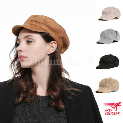 Fashion Ladies Visors Womens Girls Suede Baker Boy Peaked Cap Summer Newsboy Hip-hop Hat 2019 New