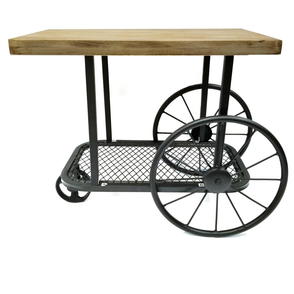 Industrial Design End Table With Wooden Top and Metal Wheels Base, Black and Brown virginia cavaliers l211 42 tall logo pub table by holland bar stool company with black wrinkle base and 28 table top diameter