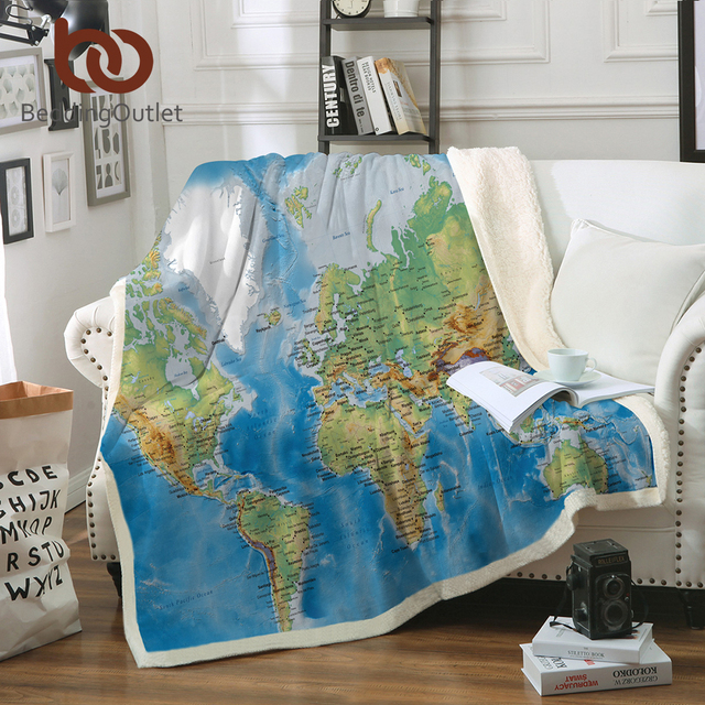 BeddingOutlet Blue Sherpa Throw Blanket World Map Vivid Printed Sherpa Fleece Blanket Super Soft Cozy Velvet Plush Throw Blanket
