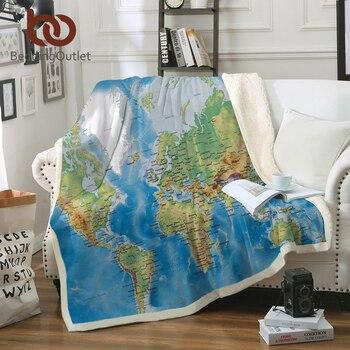 Manta de tiro de Sherpa azul BeddingOutlet mapa del mundo impreso vivo manta de lana de Sherpa Super suave acogedor manta de felpa de terciopelo