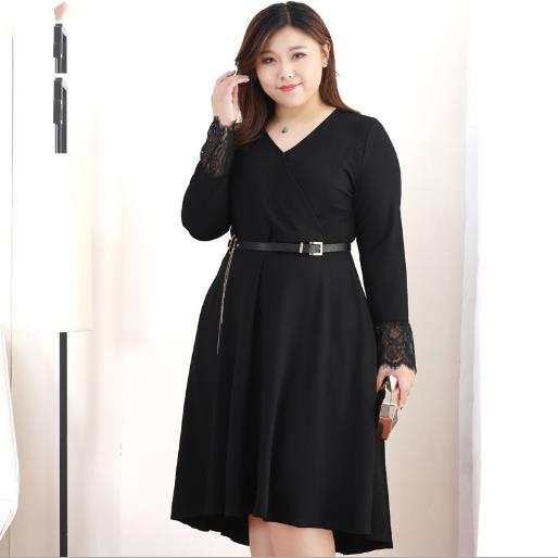 US $31.8 52% OFF|Women Dress 2018 Spring Autumn Elegant Long Sleeve Pleated  Dress Plus Size Party Wear Black Lace Patchwork Dresses J643-in Dresses ...