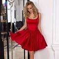 Barato Rojo Corto Vestidos de Cóctel Vestido de Noche Scoop de Raso Arco de La Cremallera Volver Formal Mujeres Vestido Mini