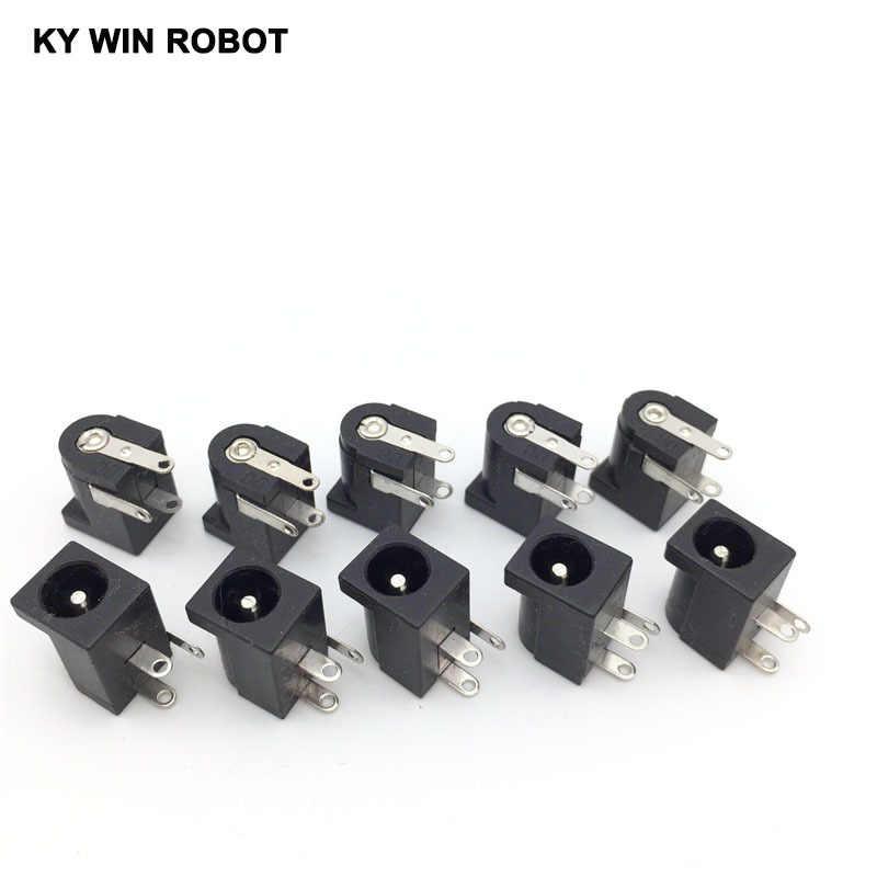 10Pcs DC-005 Black DC Power Jack Socket Connector DC005 5.5*2.1mm 2.1 socket Round the needle