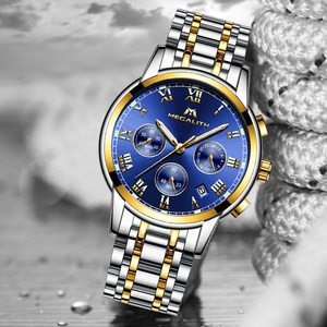Image 2 - MEGALITH Luxury Luminous Watches Men Waterproof Stainless Steel Analogue Wrist Watch Chronograph Date Quartz Watch Montre Homme