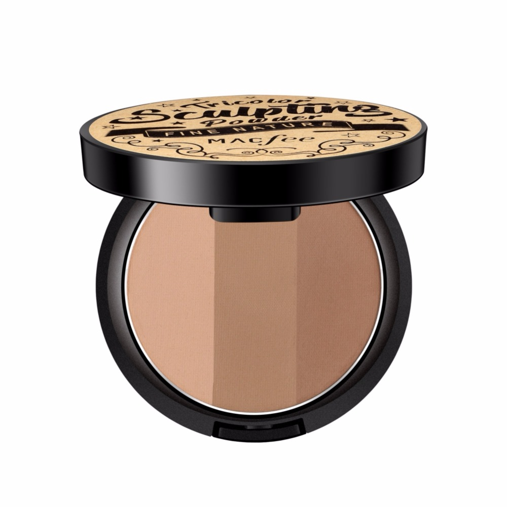 3 Colors Face Highlighter Contour Powder Palette Stereoscopic Five Senses V Shaped Face Bronzers Highlighter Powder
