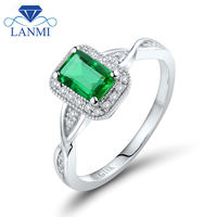Ingenious Wedding Ring Designs Emerald Cut 4x6mm Solid 18kt White Gold Natural Emerald Ring 96EM WU269