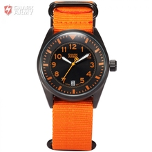 Shark Army Orange Stainless Steel Case Nylon Strap Auto Date Display Relogio Male Military Clock Men Quartz Sports Watch /SAW108