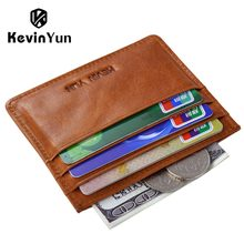 KEVIN YUN Designer Brand Vintage Men Card Holder Wallet Genuine Leather Mini Pocket Credit ID Card Case(China)