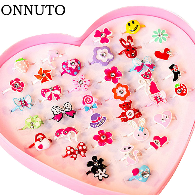 10pcs/lot Love Kids Cute Sweet Rings Design Flower Animal Fashion Jewelry Accessories Girl Child Gifts Finger Rings Chic Gift
