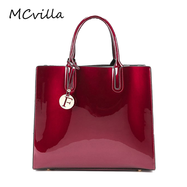 Bright Solid Patent Leather Tote Bag Handbags Women Famous Brands Lady S Lacquered Red Handbag For
