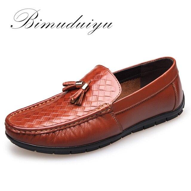 BIMUDUIYU Brand Hoge Kwaliteit Echt Leder Mannen Casual Rijden Schoenen Ademend Zachte Mocassins Instappers Platte Schoenen Mannen