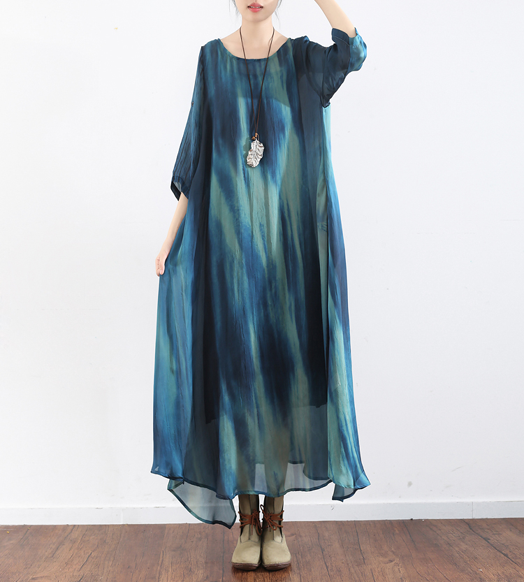 18 Summer Autumn Three Quarter Sleeve Cloak Black Sling Chinese Style Retro Gradient Art Loose Ankle
