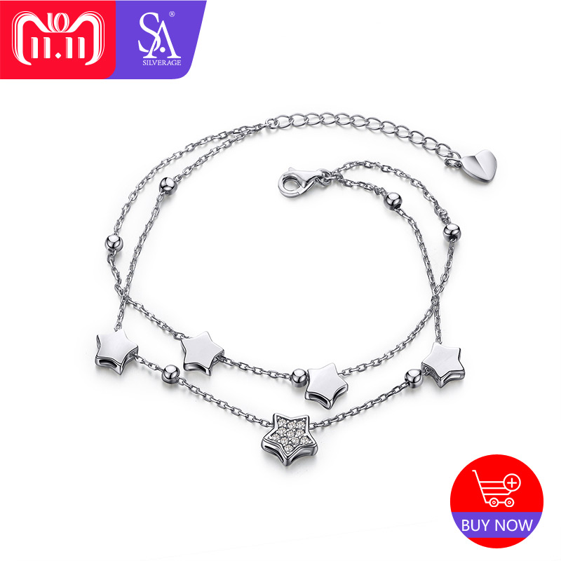 SA SILVERAGE 925 Sterling Silver Star Bracelets & Bangles for Women Jewelry Rhinestone Two Layer Chain Link Bracelet Female g150xg03 v 3 g150xg03 v3 lcd display screens