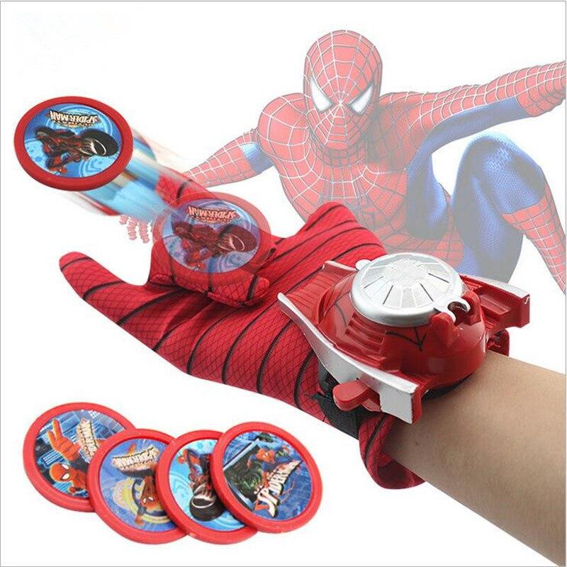 4 Types PVC 24cm Batman <font><b>Glove</b></font> Action Figure <font><b>Spiderman</b></font> Launcher Toy Kids Suitable Spider Man Cosplay Costume Come Q074