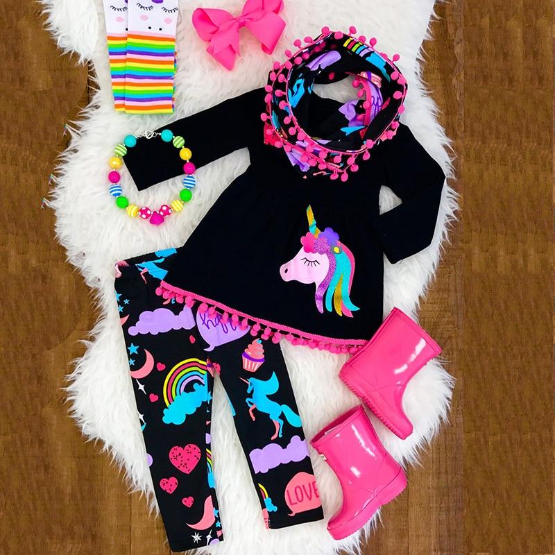 2Pcs Cartoon Unicorn Kids Baby Girls Outfits Clothes T-shirt Top Dress+Long Pants Set Chlidren Suit Kids Clothing roupa de menin girls baby long sleeve tops t shirt bib cartoon minnie 2pcs outfits set 1 5y