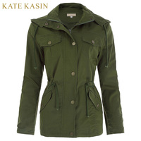 Kate Kasin Women Military Jacket Bomber Coat Ladies Spring Army Green Patched Rivet Design Hooded Outerwear Coats Femme Outdoors