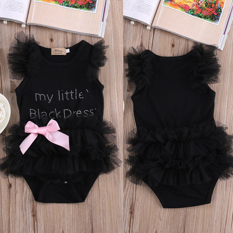 Rompers Infant Baby Girls Clothes My Little Black Dress Bow Lace Short  Sleeve Cute Cotton Rompers Outfits Baby Girl Clothing-in Bodysuits from  Mother   Kids ... 971d8c92a443
