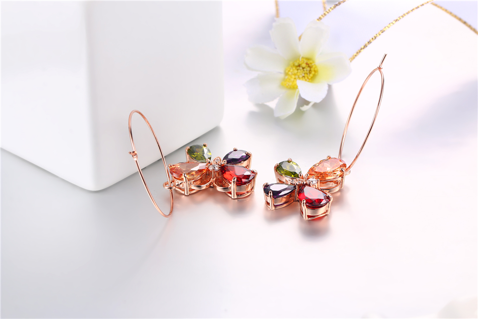 b PISSENLIT Clover Shape Drop Earrings Colorful Rhinestone Earrings Women Jewelry 2019 New Fashion Grace Summer Jewelry For Beach