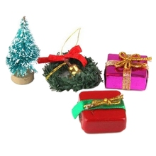 New 1 12 Dollhouse Miniature Garden Christmas Tree kid mini font b toys b font Garden