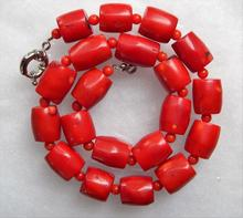 FREE SHIPPING>>>@@> New 12x16mm Vintage Estate Red Coral Barrel Bead Necklace 20inch -Bride jewelry free shipping