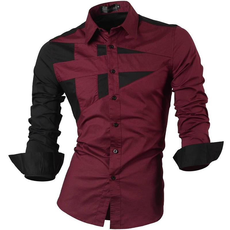 Jeansian Men's Dress Shirts Casual Stylish Long Sleeve Designer Button Down Slim Fit 8397 WineRed