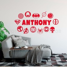 Boy Room Decor Personalized Superhero Logo Wall Sticker Custom Name Vinyl Decal Batman Superman Iron Man Mural AY1468