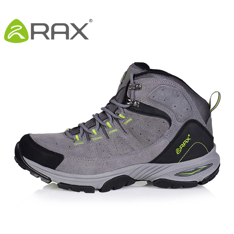 RAX Genuine Leather Waterproof Hiking Shoes Men Outdoor Hiking Breathable Hiking Boots Trekking Shoes Men Outdoor Walking Shoes yin qi shi man winter outdoor shoes hiking camping trip high top hiking boots cow leather durable female plush warm outdoor boot