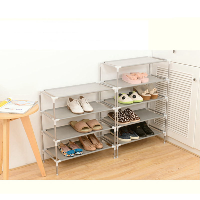 5 styles 2-6Layers Metal + textile removable door shoe storage cabinet shelf DIY shoes storage Shoe Shelf Organizer Grey