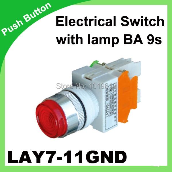 Переключатель 1N/O + 1N/c lay7-11gnd (y090-11gnd) выпуклые кнопки микропереключатель 22 мм 50/60 Гц кнопка