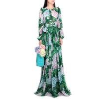 2018 взлетно посадочной полосы гортензии цветочный принт платье для женщин зеленые листья цветочный принт пуговицы длинные плиссированные