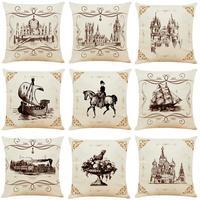 9 Pcs/set Cushion Cover Medieval Pen drawing Print Cushion Cover Linen Throw Pillow Chair Sofa Home Decor Pillowcase 45*45cm