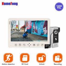 Видеодомофон Homefong, 7 дюймов, 1 камера, проводной дверной звонок, запись, разблокировка, датчик движения, черный/белый цвет, SD карта, сенсорная кнопка