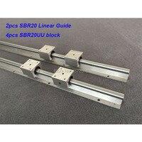 2pcs SBR20 20mm linear rail 550mm 600mm 650mm 700mm 750mm 800mm linear guide with 4pcs SBR20UU block cnc part