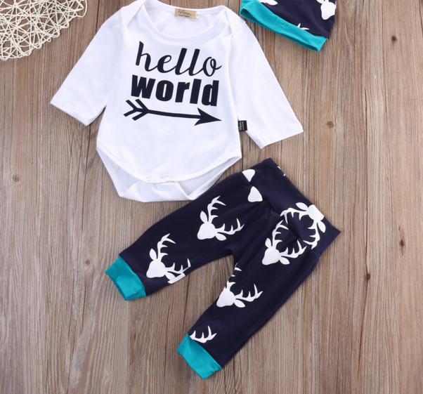 baby 3PCS Set Newborn Baby Boy Girl Tops Romper + Long Pants Long Sleeve Cotton Hat Outfits Santa elk cothes 0-24M