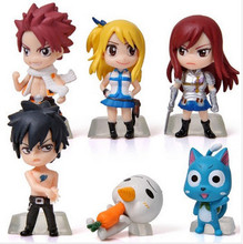 6Pcs/Set Anime Fairy Tail Natsu / Gray / Lucy / Erza Action Figure Toy PVC Model Dolls Great Gift