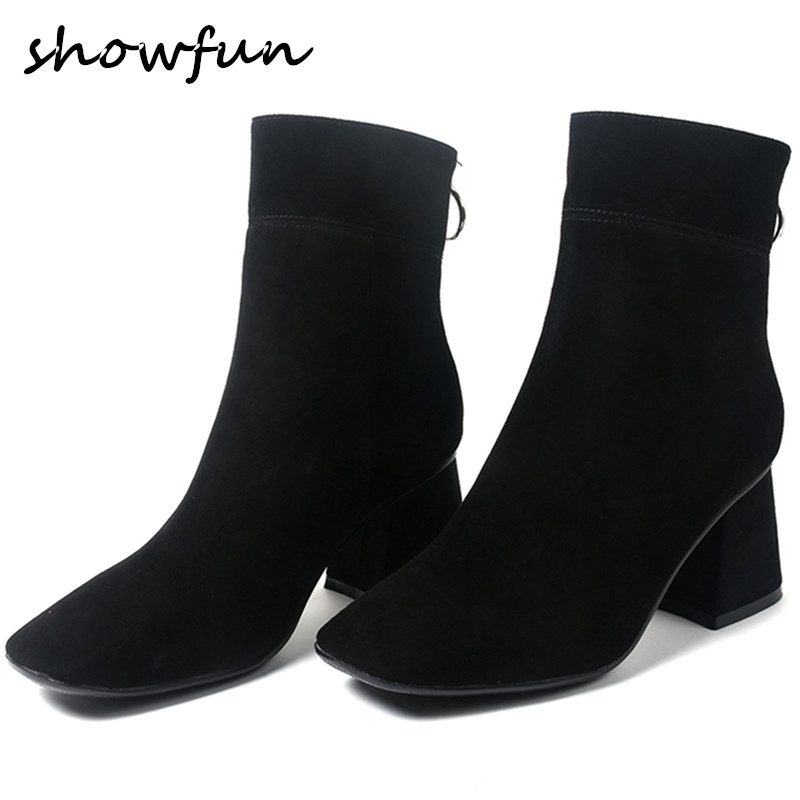 Womens Genuine Suede Leather Thick High Heel Square Toe Med Heel Comfort Autumn Ankle Boots Brand Designer Black Slim Shoes Hot