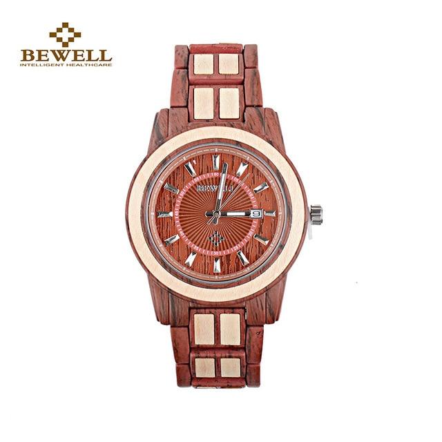 b8afe7cf6e23 Reloj de madera con Calendarios y mejor BeWell relojes de cuarzo moda  pulsera mariposa reloj para