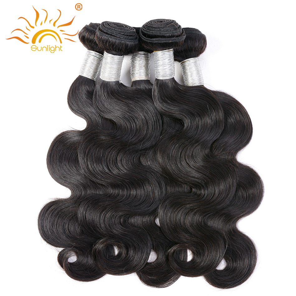 Sunlight Human Hair Indian Body Wave Bundles 100% Remy Human Hair Extensions Hair Weft Can Be Permed And Colored Free Shipping