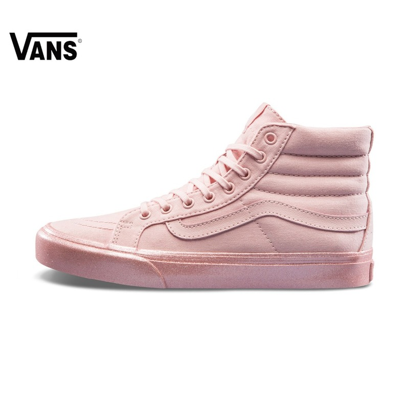 Pink Vans Sneakers High-top Trainers Women Sports Skateboarding Shoes Breathable Flat Lace-up Classic Canvas Vans Women shoes vans women sneakers low top trainers unisex men women sports skateboarding shoes breathable classic canvas vans shoes for women