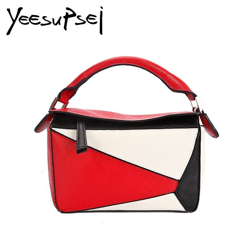8951357f0f YeeSupSei Small Square Flap Bag Women Messenger Crossbody Bag Handle Wide  Strap Shoulder Contrast Color PU Leather Handbag Purse