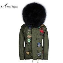 fashionable black heavy parkas Male Style Cold Badge black fur parka raccoon fur good quality parka